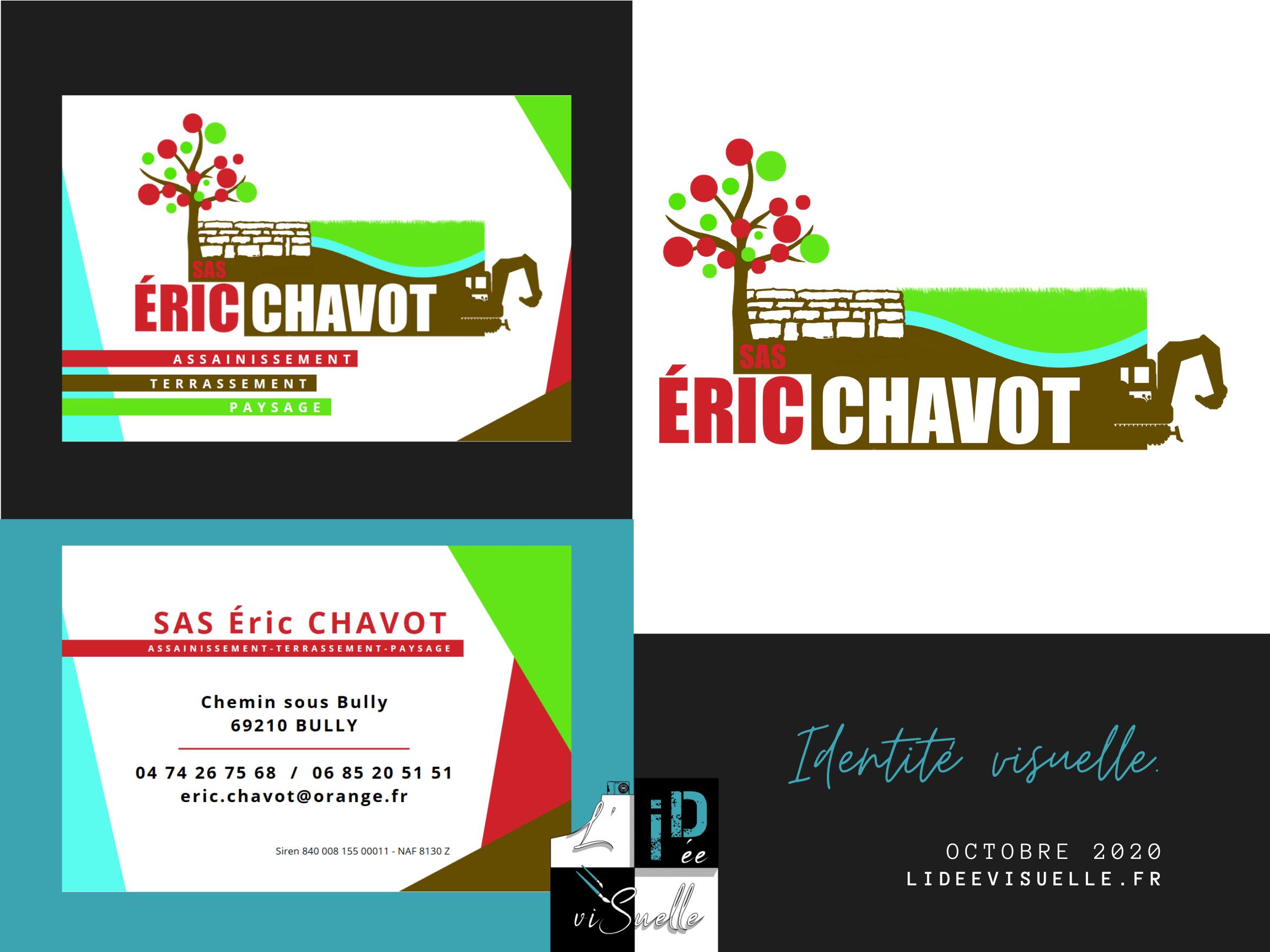 Identité visuelle Eric Chavot Paysage création de logo, carte de visite, identité visuelle ouest lyonnais, rhône, monts du lyonnais, graphiste