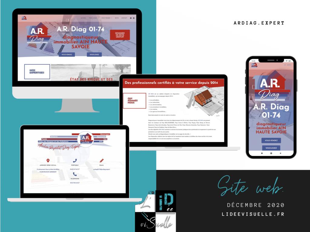 Site web, Site vitrine A.R. Diag, création d'un site web pour diagnostiqueur immobilier