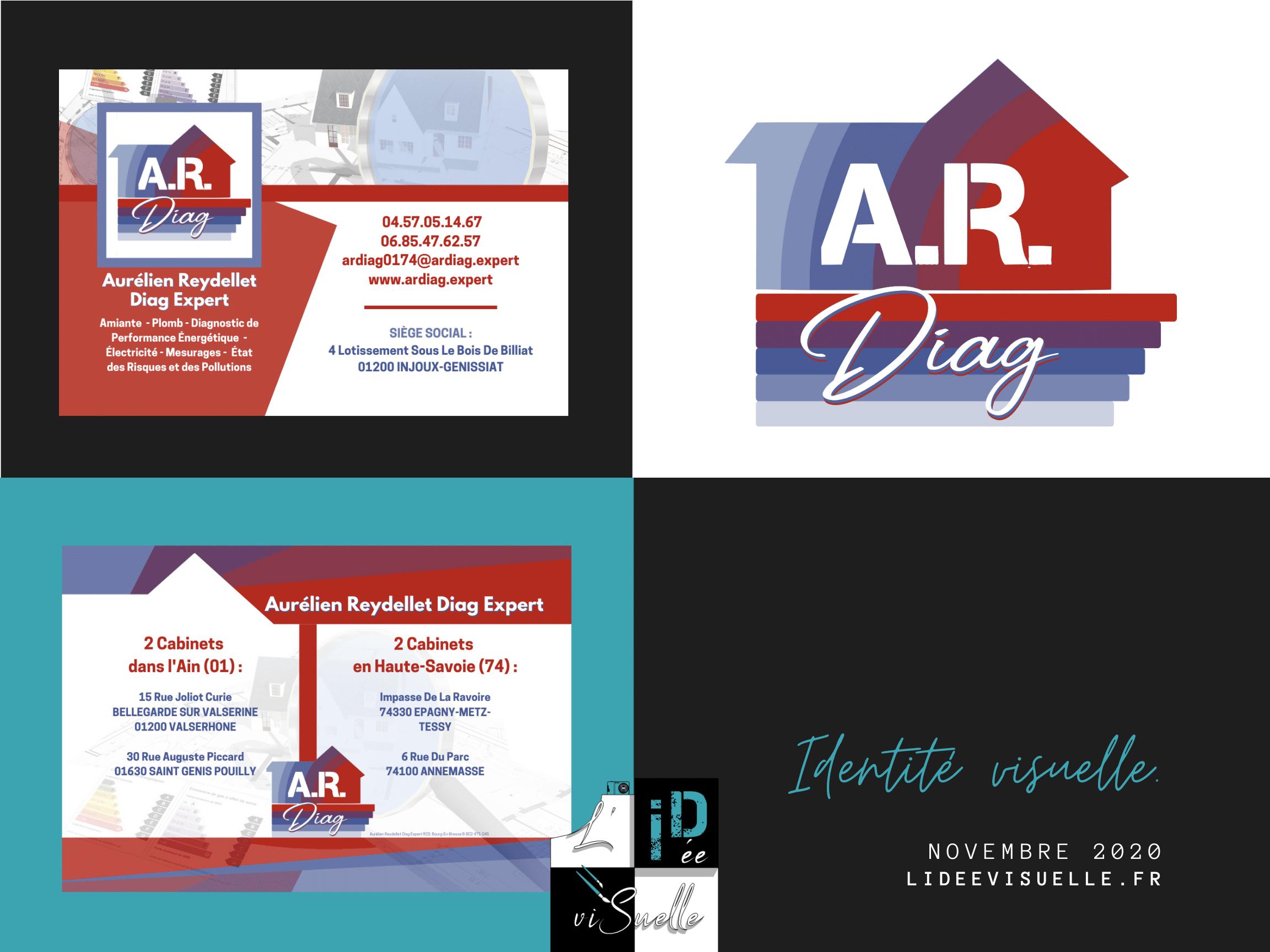 Logo A.R Diag , création de logo ouest lyonnais, rhône, monts du lyonnais, graphiste région lyonaise